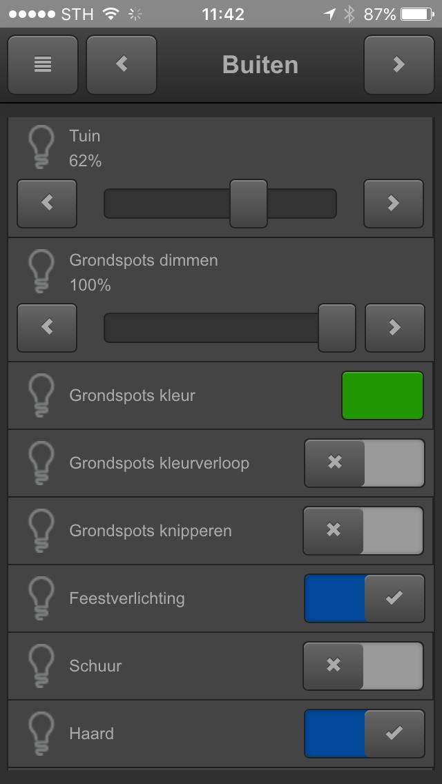 KNX visualisering smartphone buitenverlichting