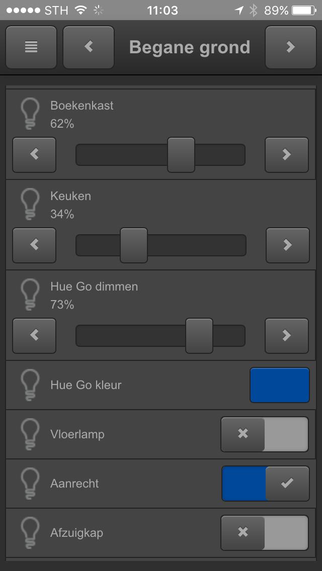 KNX visualisering smartphone verlichting