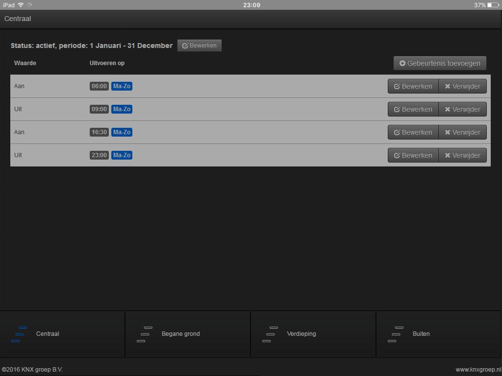 KNX visualisering tablet tijdklok