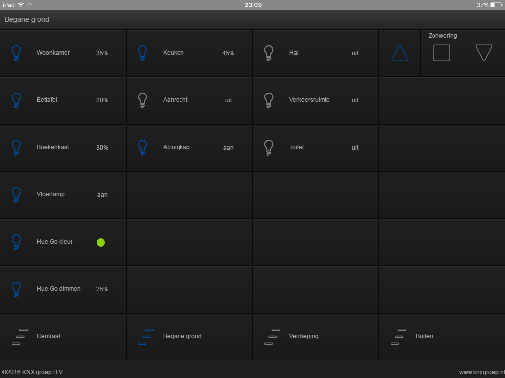 KNX visualisering tablet verlichting