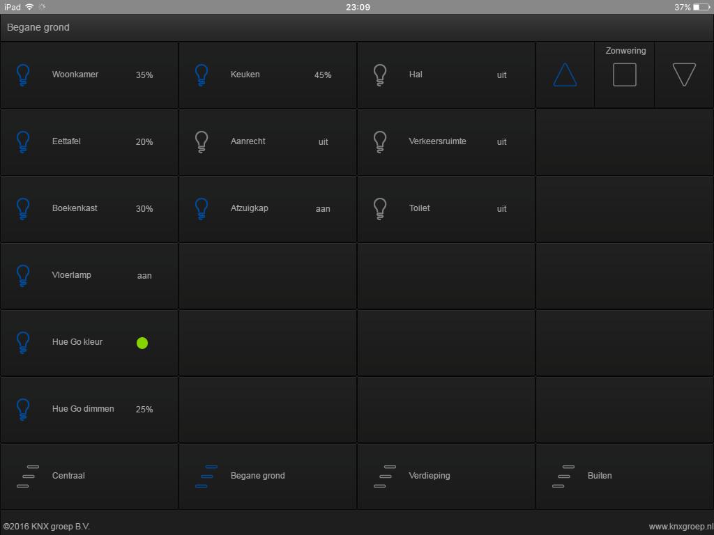 KNX visualisering tablet verlichting