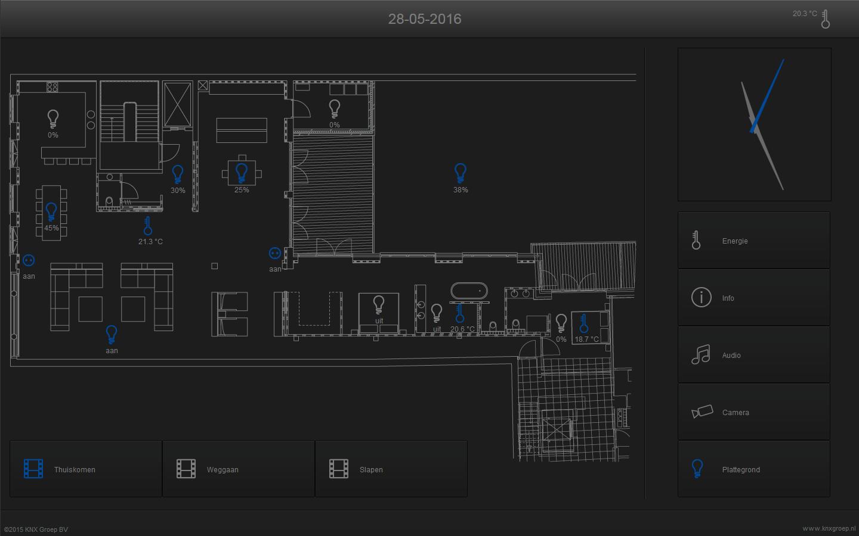 KNX visualisering touchscreen verlichting