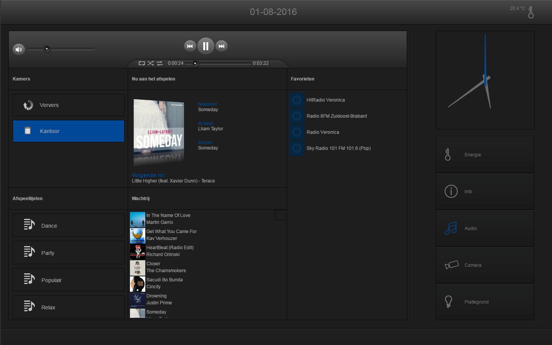KNX visualisering touchscreen audio (Sonos)